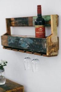 Reclaimed wood wine hanging rack