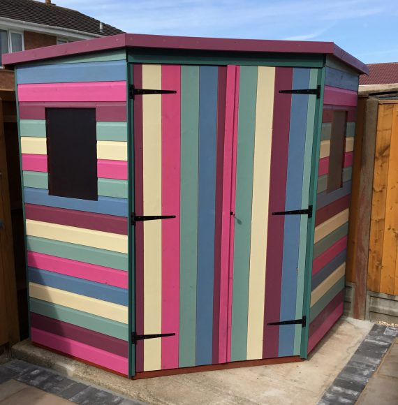 Colin has turned his Tiger Deluxe Corner Shed into a technicolour dream shed!