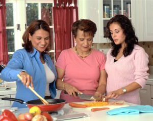 Three women cooking