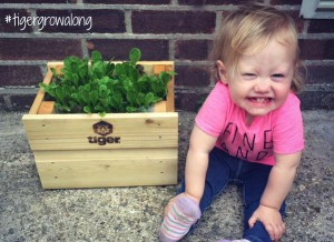 Baby with green Lettuce Leaves
