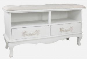 French Ivory Wood Two Drawer Storage Bench Seat
