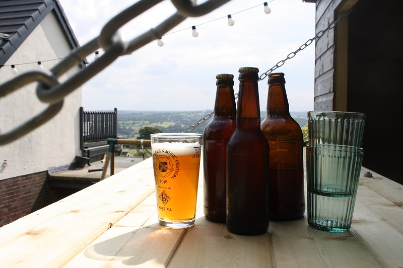 Beer brewed in Ian's shed and lovely view