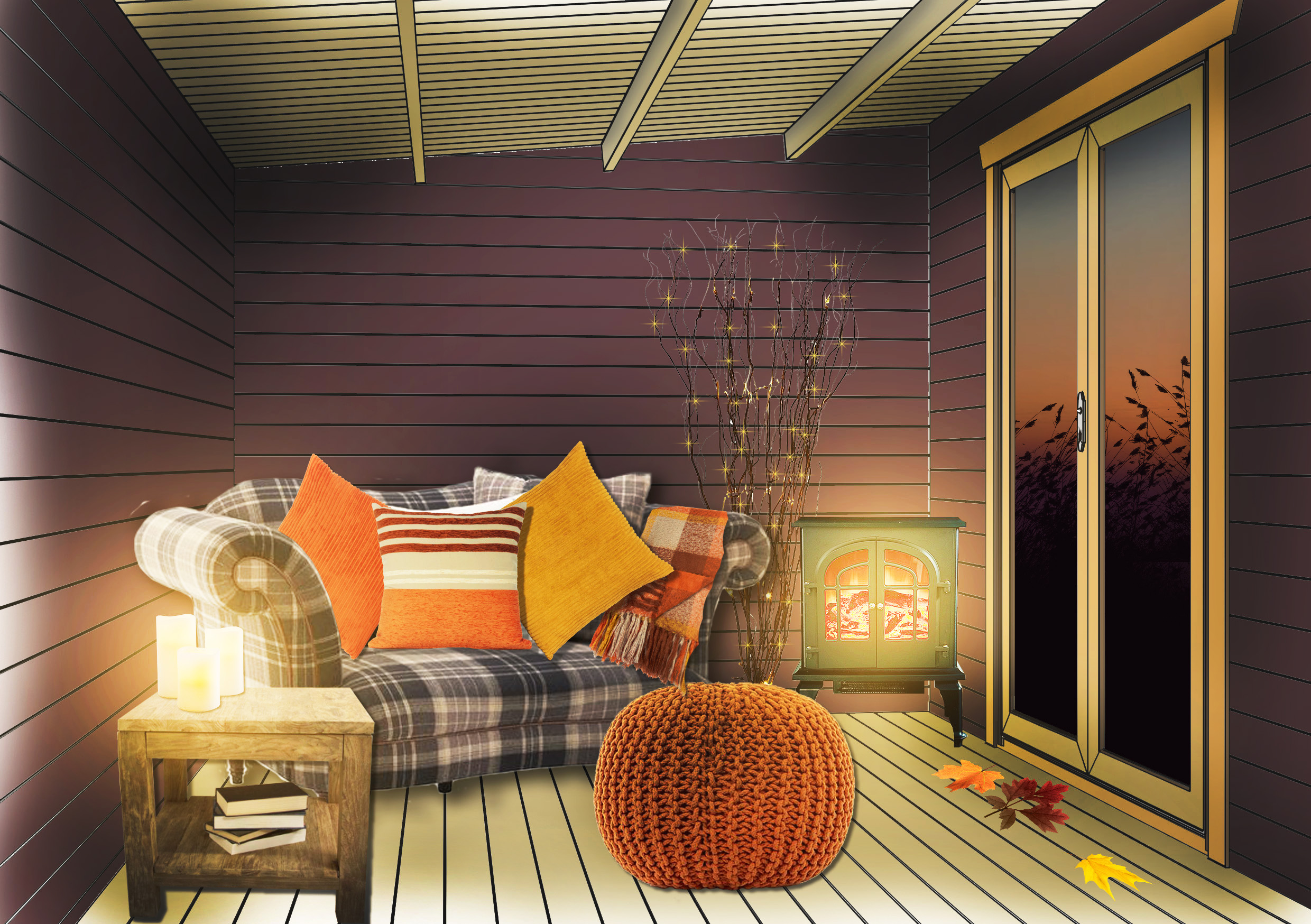 Autumn Interior - Cabin decorated with an autumnal interior.