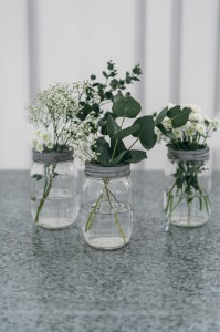 Jam Jar with picked flowers
