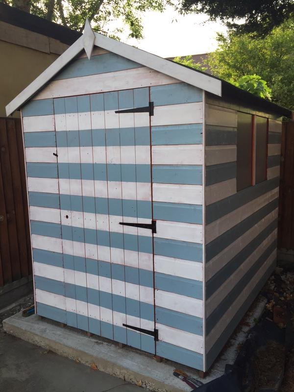 Blue and White Tiger Shiplap Apex Shed