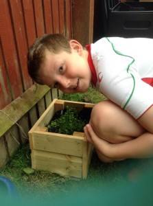 Boy with planter and green lettuce leaves