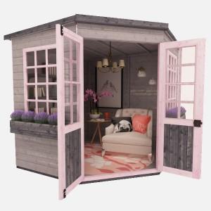 She Shed pink exterior design
