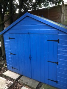 Blue Tiger Bike Shed used to store furniture