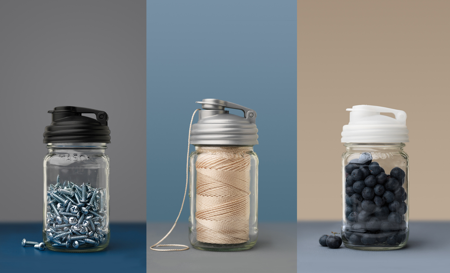 Set of three Mason Jar