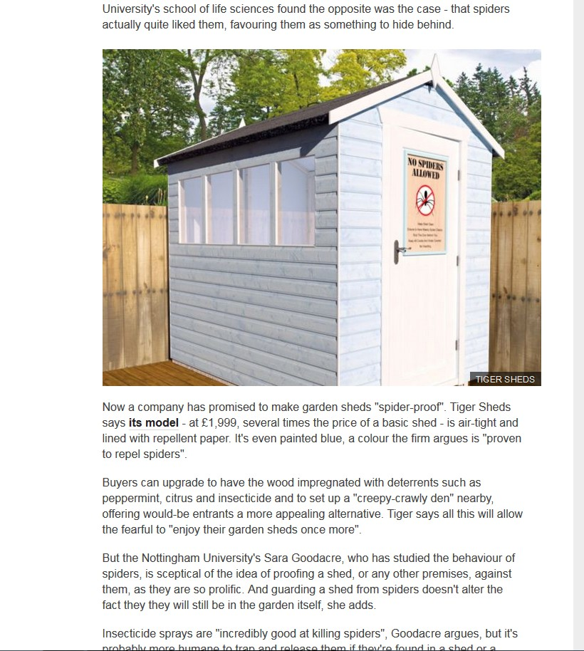 spider proof shed bbc - Garden Sheds Nottingham