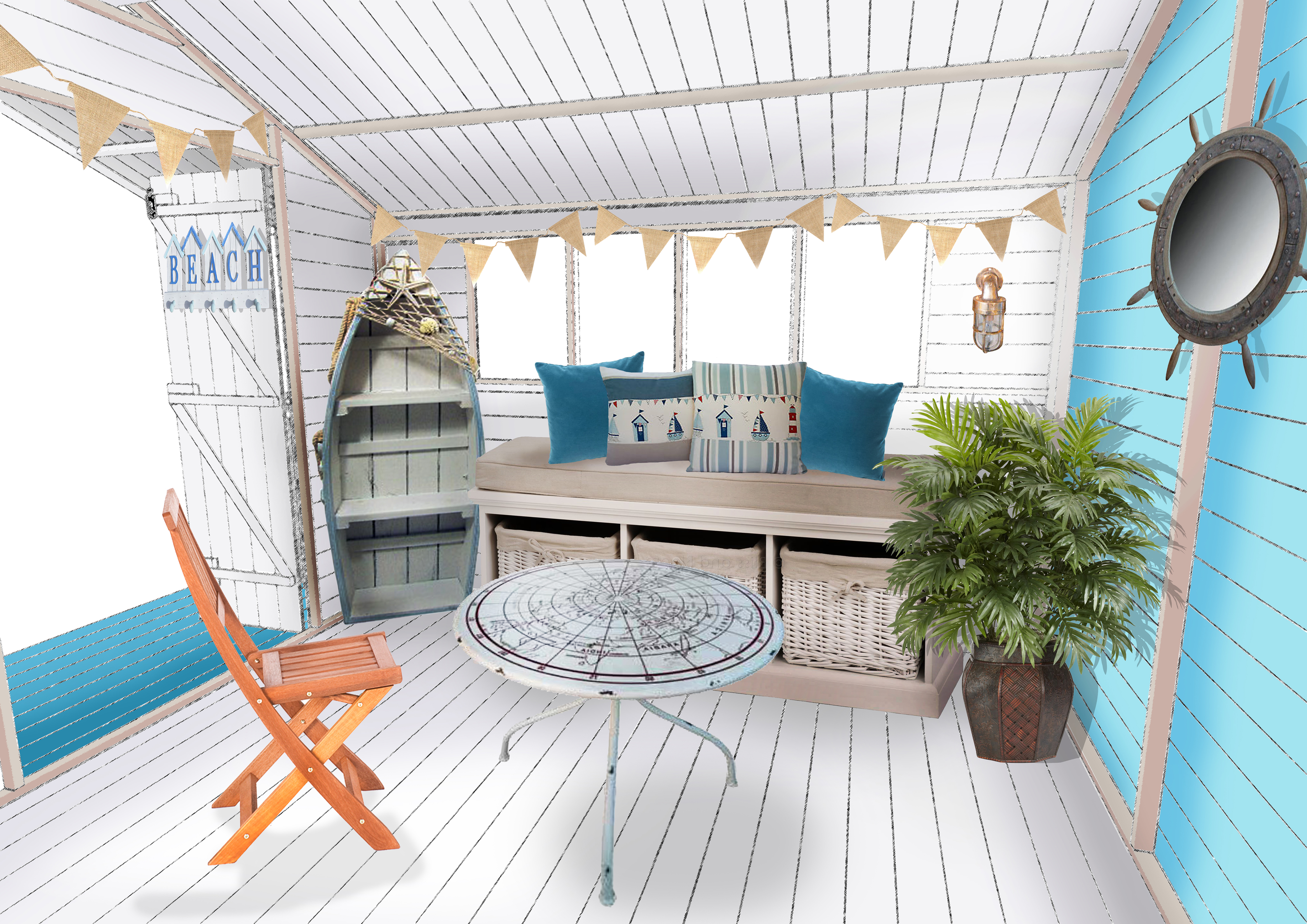 Inspired interiors 2 beach hut for Beach hut interior ideas