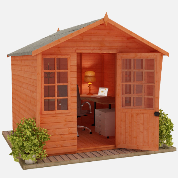 outside office shed. tiger sunlit chalet outside office shed s