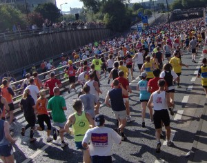 Crowd of people doing a charity run