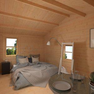 Bedroom in a Tiger Zeta log cabin