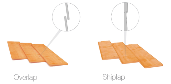 diagram of differences between overlap and shiplap cladding on wooden sheds