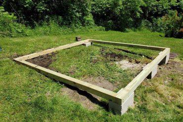 Concrete blocks under timber - shed base
