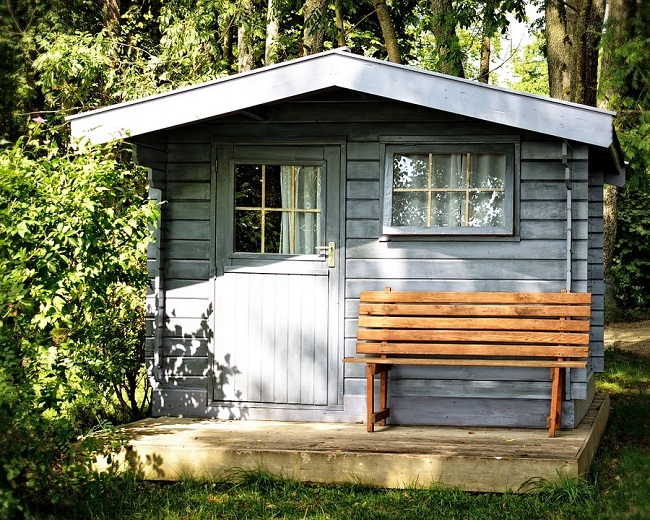 Shed with curtains