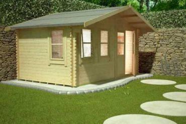 Log cabin shed with power running to it