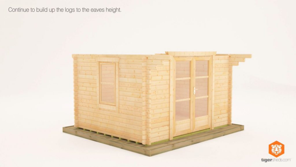 An image to show how to assemble the walls of your log cabin