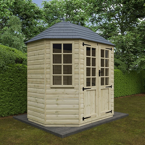 Octagonal 8x6 pressure-treated shed