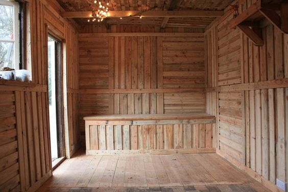 Shed filled with pallet board insulation