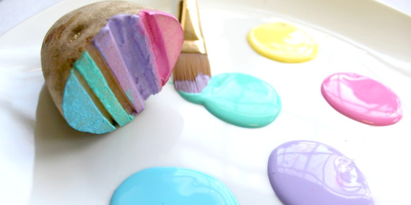 Potato printing Easter eggs