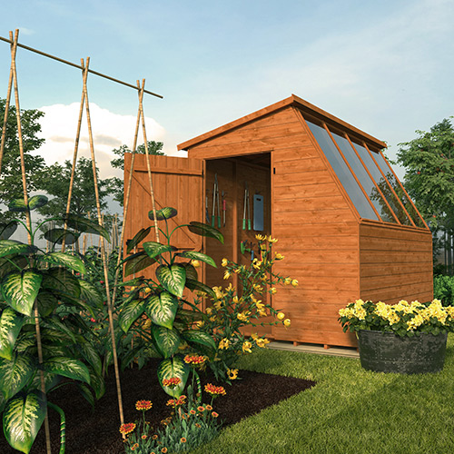 Tiger Potting Shed in a sunny garden