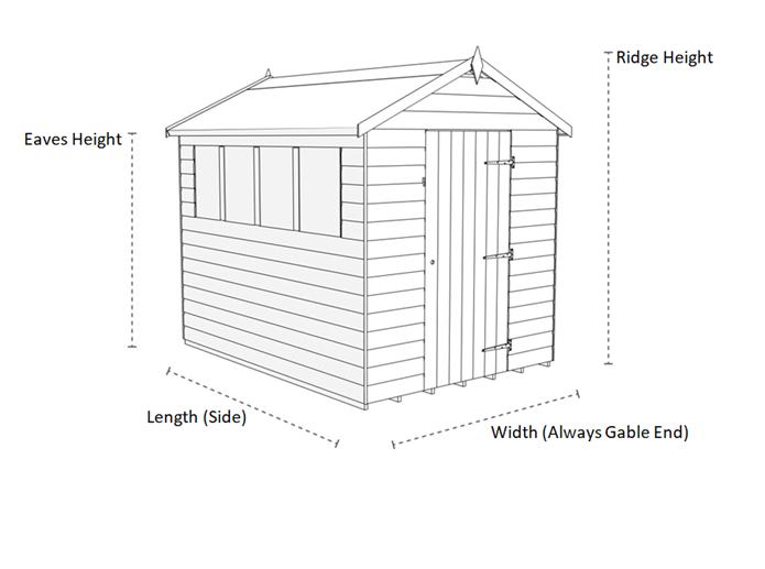 Allotment shed dimensions diagram (Tiger)