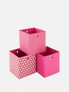 Pink Patterned Storage Boxes