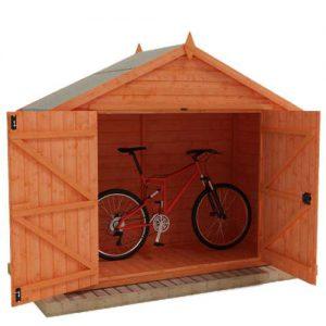 Tiger Bike Shed with red bike inside