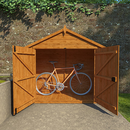 Bike shed with bike inside