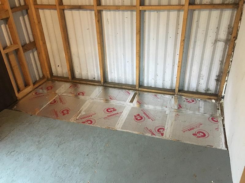 Freshly installed underfloor shed insulation